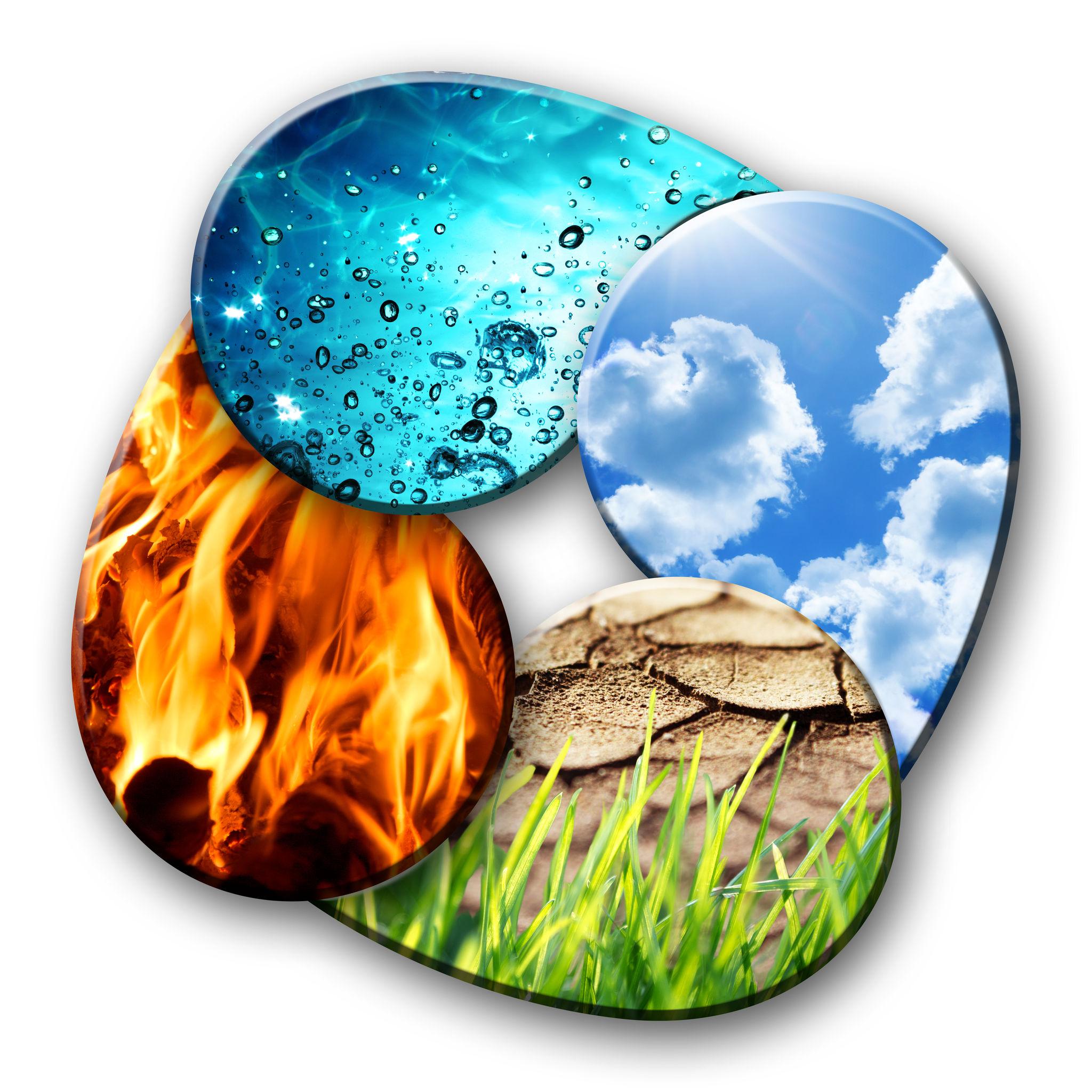 dosha's elementen aarde vuur water en lucht